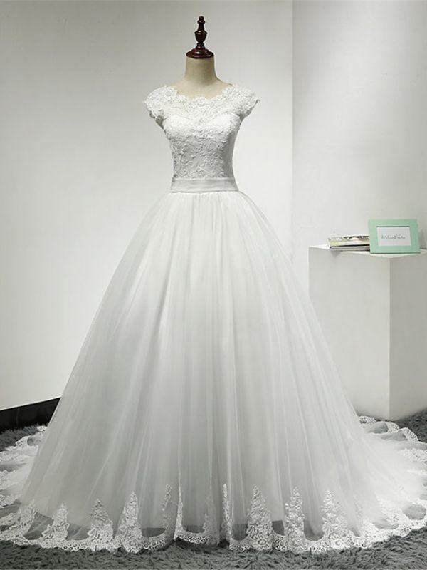 Cap Sleeve Applique Tulle A Line Wedding Dresses
