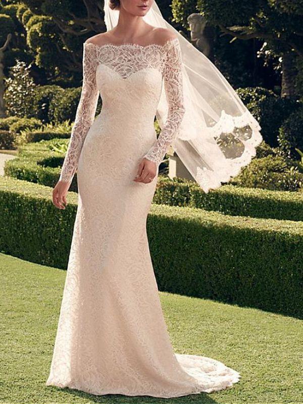 Classic Off The Shoulder Lace Sheath Wedding Dresses   Bateau Long Sleeve Wedding Gown
