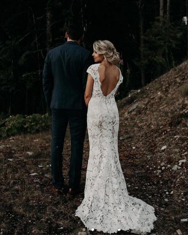 V Neck Cap Sleeve Lace Mermaid Wedding Dresses | Backless Bridal Gown