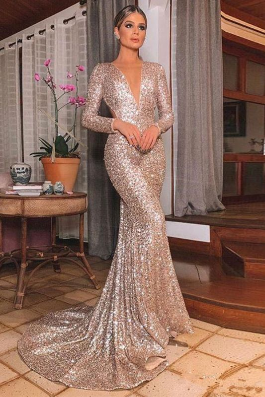 Gold V Neck Sequined Mermaid Prom Dresses | Long Sleeve Backless Party Dress