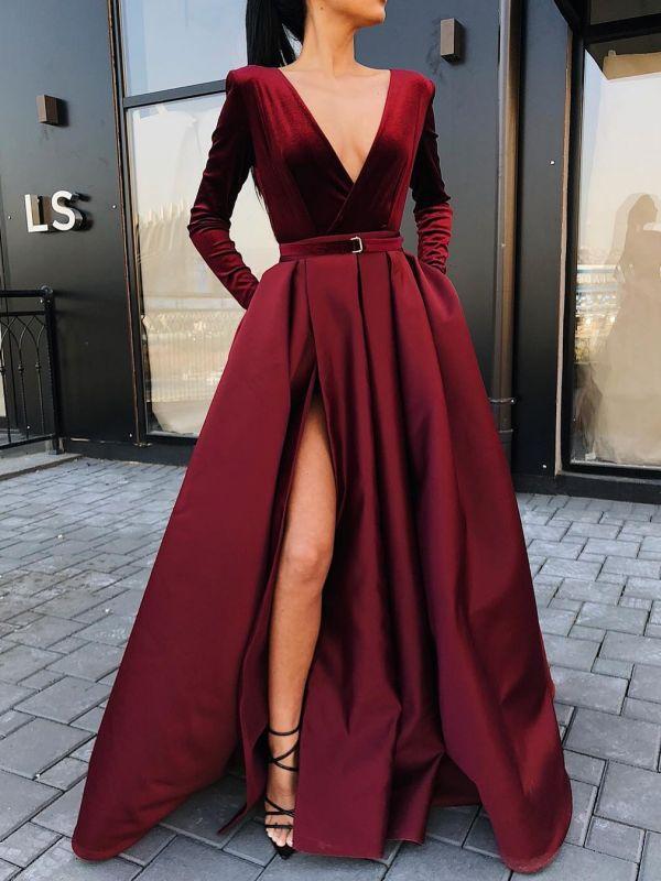 Burgundy Slit A-Line Prom Dresses | V-Neck Long Sleeves Sashes Evening Dresses BC0785
