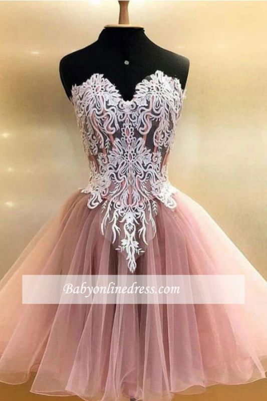 Applique Sweetheart A-line Strapless Short Homecoming Dresses