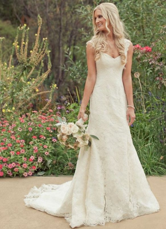 Simple Lace A-line Wedding Dresses | Straps Sleeveless Bridal Gowns