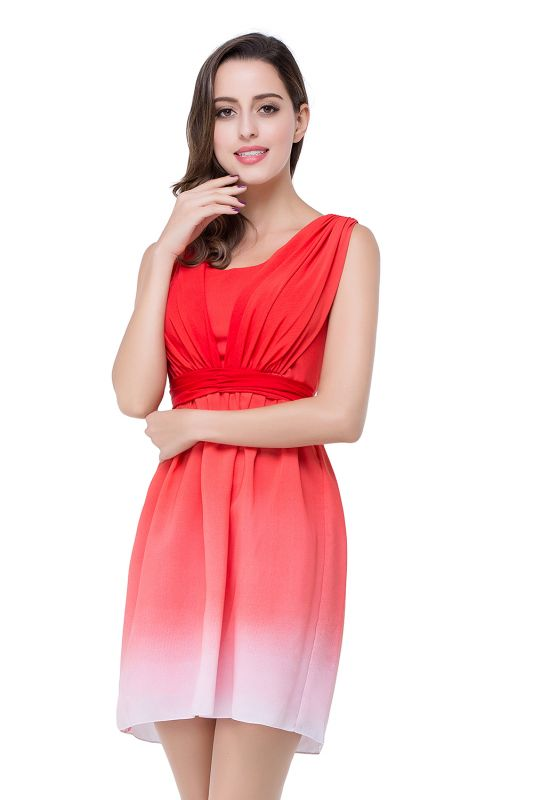 2021 Ombre Red Bridesmaid Dresses Short Chiffon Ruched Summer Beach Wedding Party Dresses
