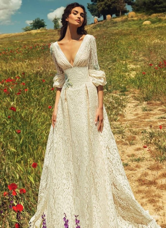 Elegant Lace A-line Wedding Dresses | Half Long Juliet Sleeves Bridal Gowns