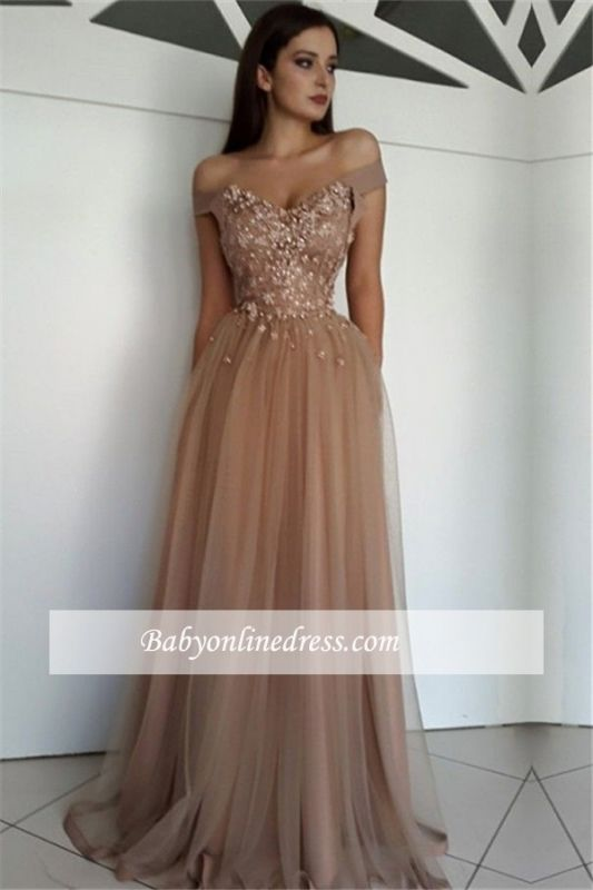 Gorgeous Off-the-Shoulder Beaded Tulle Prom Dresses| A-Line Floor-Length 2021 Evening Gowns BC0729