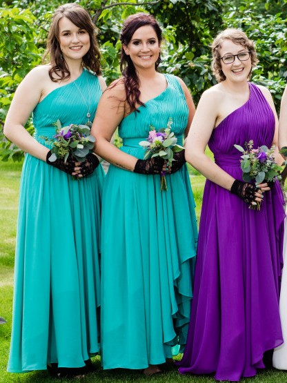 Simple Chiffon A-Line Bridesmaid Dresses | One Shoulder Ruched Long Maid Of The Honor Dresses
