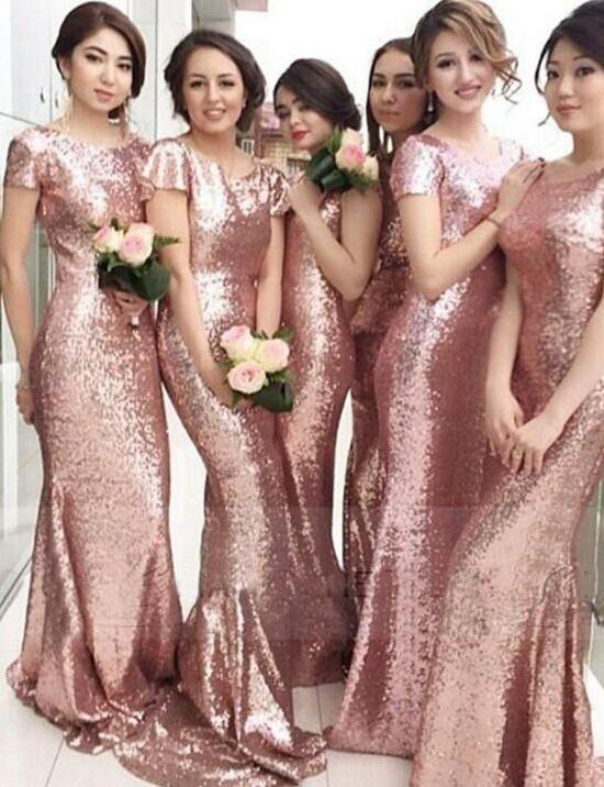 Rose Gold Mermaid Bridesmaid Dresses 2021 Short Sleeves Bling Bling Metallic Wedding Party Dresses