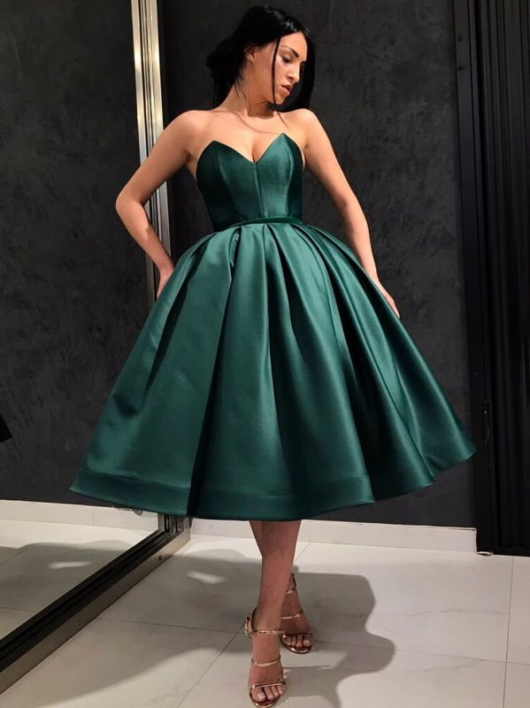 Chic Dark Green Puffy Cocktail Dresses   Simple Sweetheart Short Prom Dresses bc2122