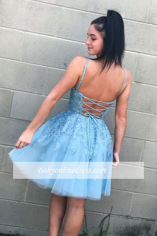 V-neck A-line Short Applique Homecoming Dresses