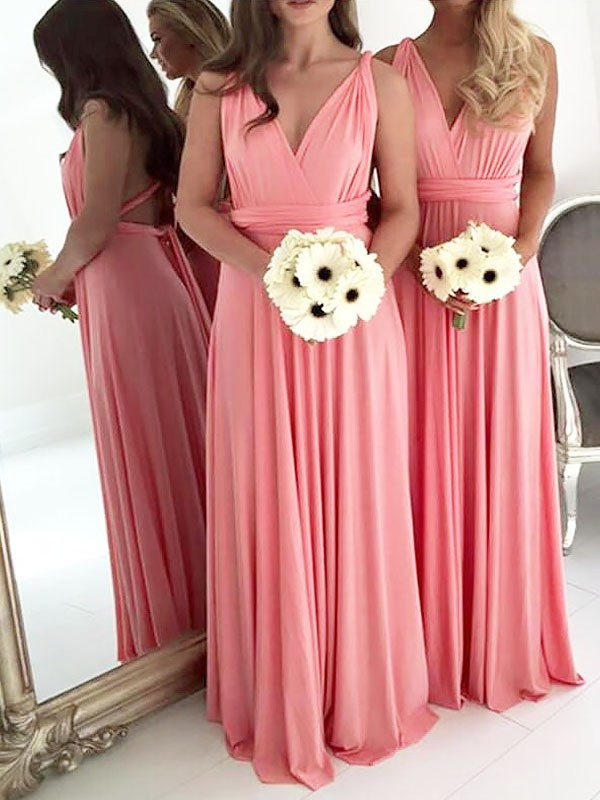 Cheap Chiffon Bridesmaid Dresses V-Neck Sleeveless A-Line Wedding Party Dresses