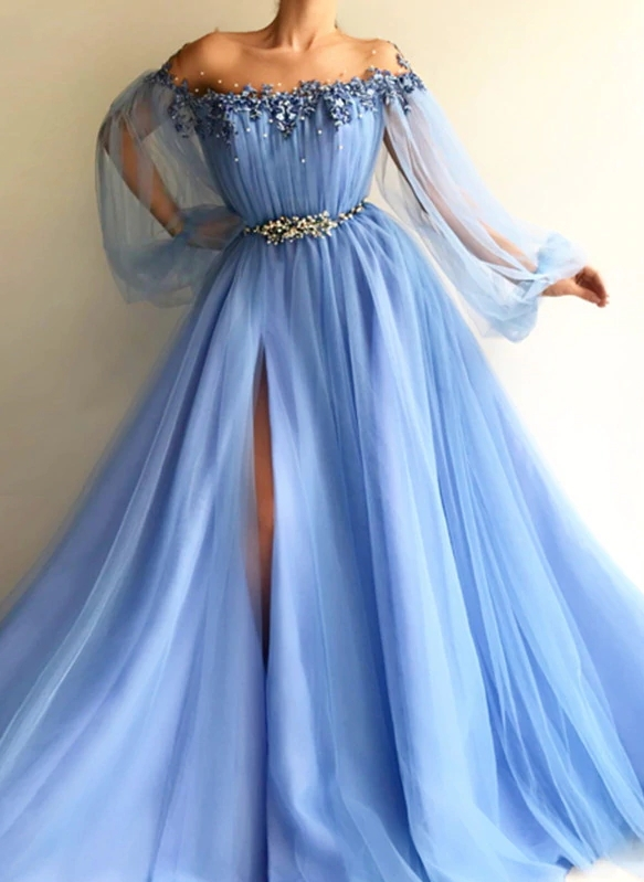 Gorgeous Sky Blue Evening Gowns | Off-the-Shoulder Beading Long Sleeves Formal Dresses