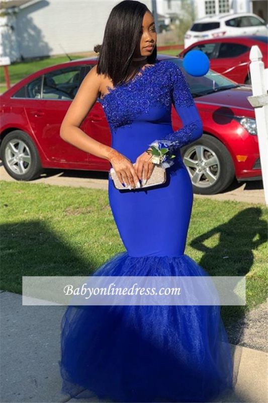 One-Shoulder Royal Blue Mermaid Appliques Evening Gown
