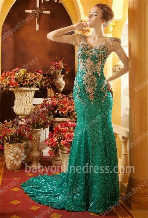 Green Prom Dresses 2021 V Neck Beading Crystal Appliques Short Sleeve Sweep Train Mermaid Evening Gowns