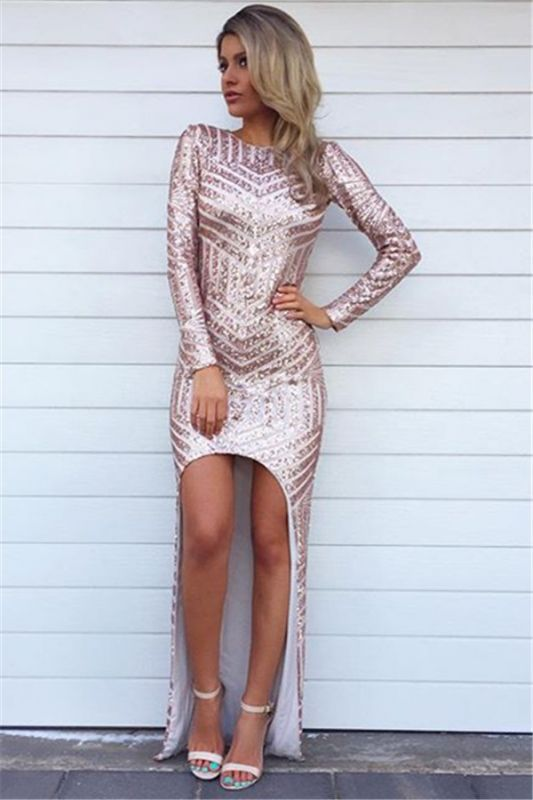 Sexy Glitter Long High Low Evening Dresses Sequins Asymmetric Long Sleeve Party Prom Dress
