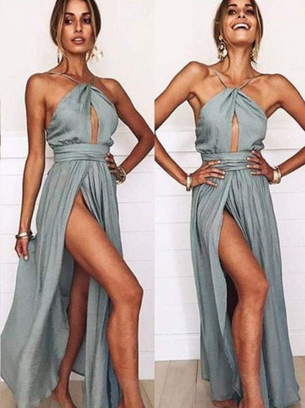 Sexy Slit A-Line Bridesmaid Dresses | Halter Ruched Chiffon Maid Of The Honor Dresses
