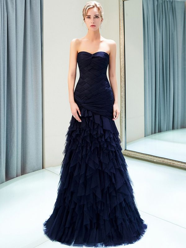 Elegant Dark Navy Mermaid Evening Dresses | Sweetheart Ruched Tiered Prom Dresses
