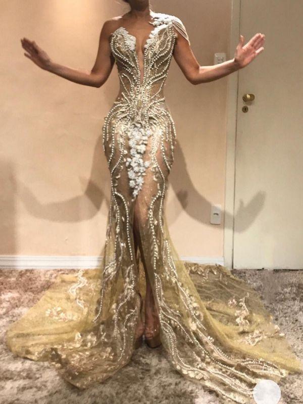 Luxury Gold Mermaid Evening Dresses   V-Neck One Shoulder Beading Slit Prom Dresses BC0614