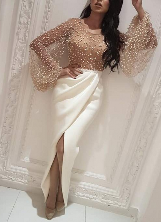 Luxury Pearls Slit Evening Gowns | Long Sleeves White Skirt Formal Dresses
