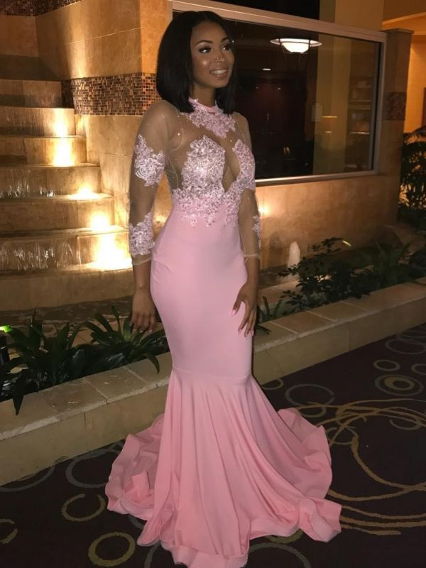 Sexy Pink Mermaid Prom Dresses | Jewel Long Sleeves Lace Appliques Evening Dresses