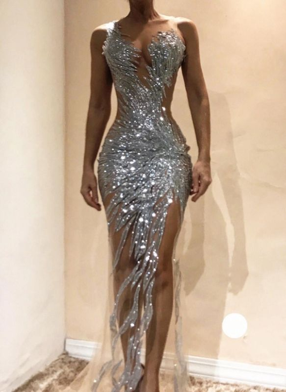 Sexy Silver Sequin Prom Dresses | Sexy Sheer Long Evening Gowns