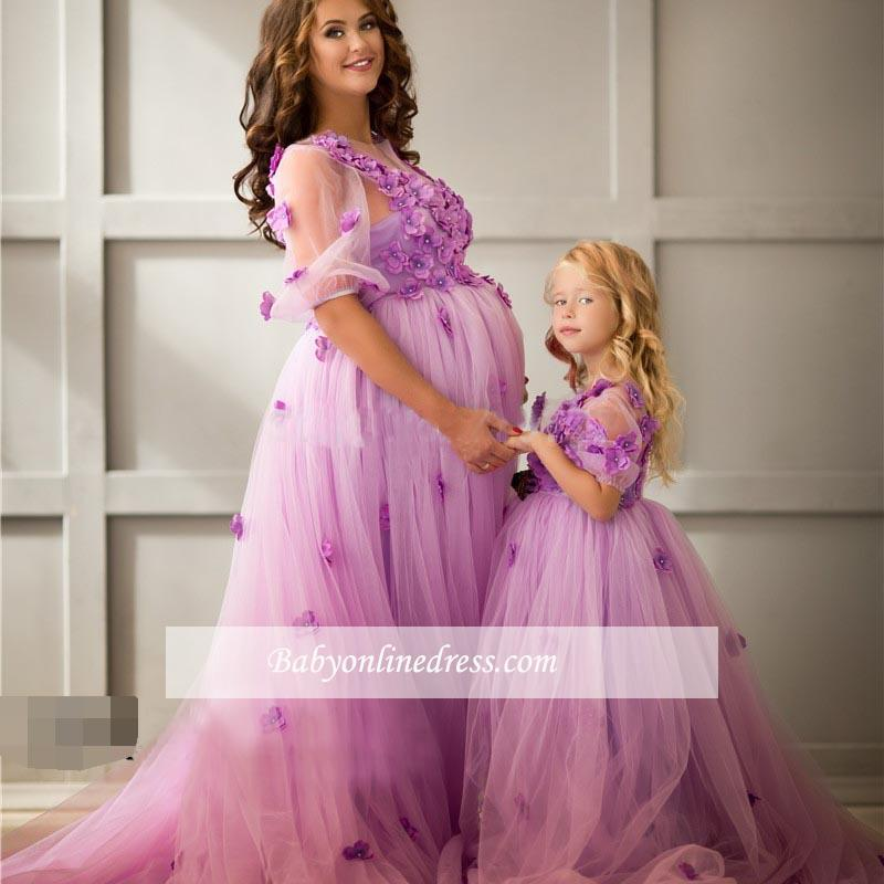 Ball-Gowwn Sweep-Train Maternity Appiluqes Half-Sleeves Flowers Tulle Evening Dress