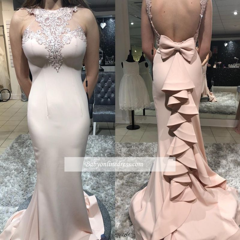 Sexy Open Back Ruffles Halter Party Dresses   Cheap Appliques Mermaid Bow Prom Dresses