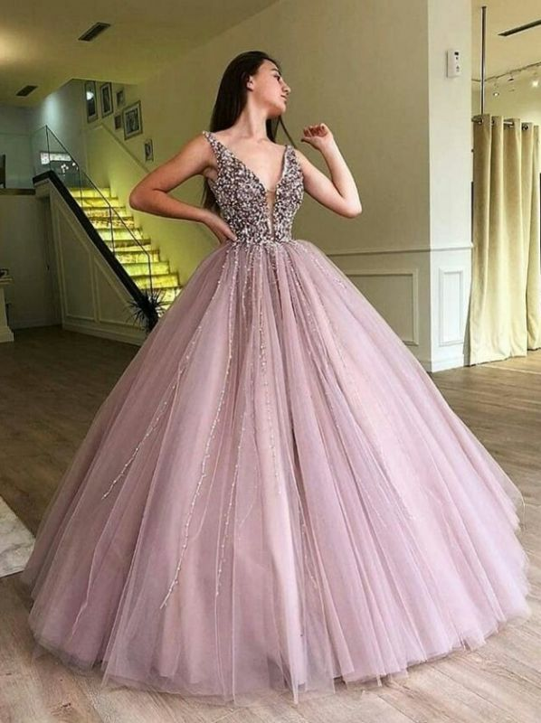 Luxury Ball Gown A-Line Prom Dresses | V-Neck Sleeveless Beading Puffy Evening Dresses