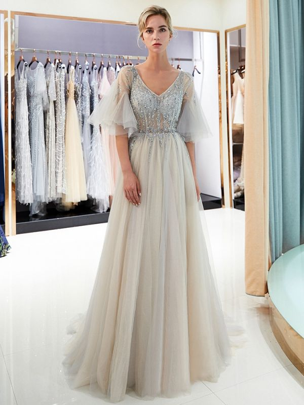 Sparkly Beading A-Line Evening Dresses | V-Neck Trumpet Sleeves Tulle Prom Dresses
