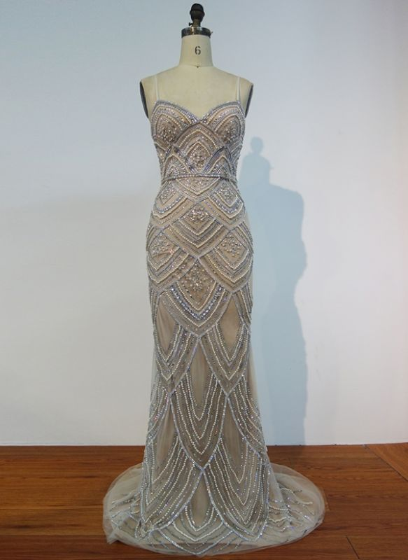 Luxury Spaghetti Straps Evening Gowns | Shiny Beading Mermaid Prom Dresses