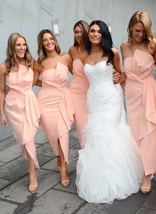 Pink Strapless Slit Bridesmaid Dresses | Asymmetrical Ankle Length Maid of the Honor Dress