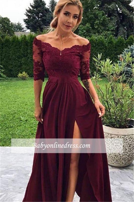 Sheath Side-Split Floor-Length Lace-Appliques Evening Dresses | Elegant Off-the-shoulder 2021 Formal Gowns