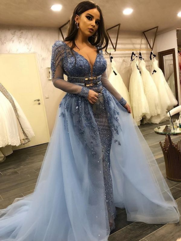 Gorgeous Lace Mermaid Prom Dresses | V-Neck Long Sleeves Beading Over Skirt Evening Dresses
