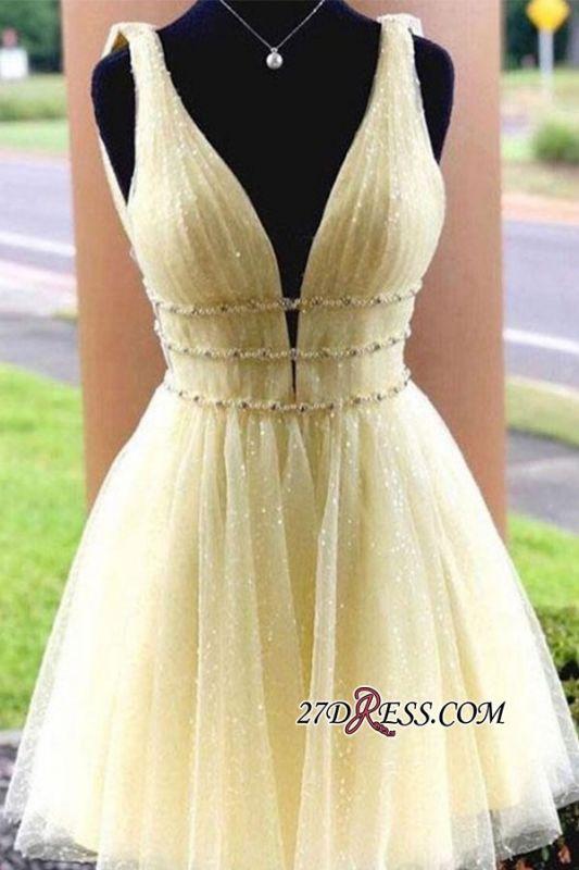 Strap Glitter A-line V-neck Short Beaded Homecoming Dresses