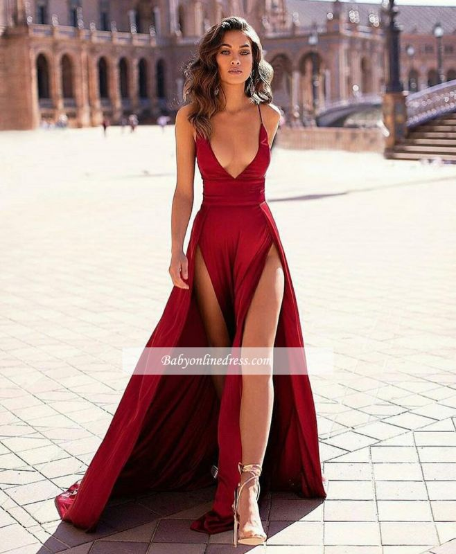 Slit Sexy Spaghetti-straps Stain V-Neck Evening Dresses