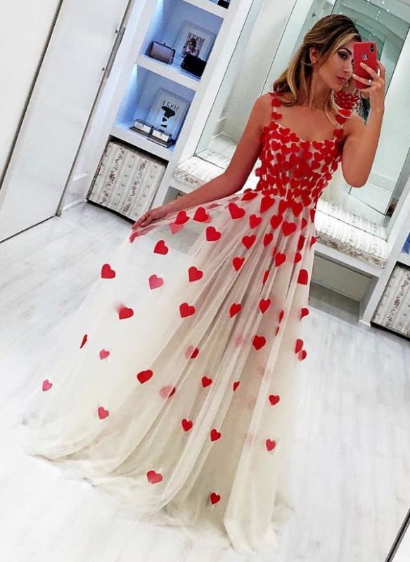 Cute Red Heart Shape Appliques Prom Dresses | Straps Tulle Long Party Dresses