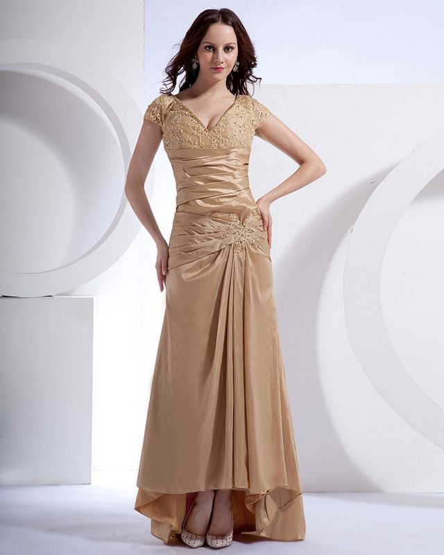 Absorbing V-Neck Floor Length Taffeta Applique Beading Mothers of Bride & Special Guests Dress