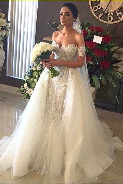 Lace Appliques A-line Wedding Dresses |  White Strapless Cathedral Bridal Gowns