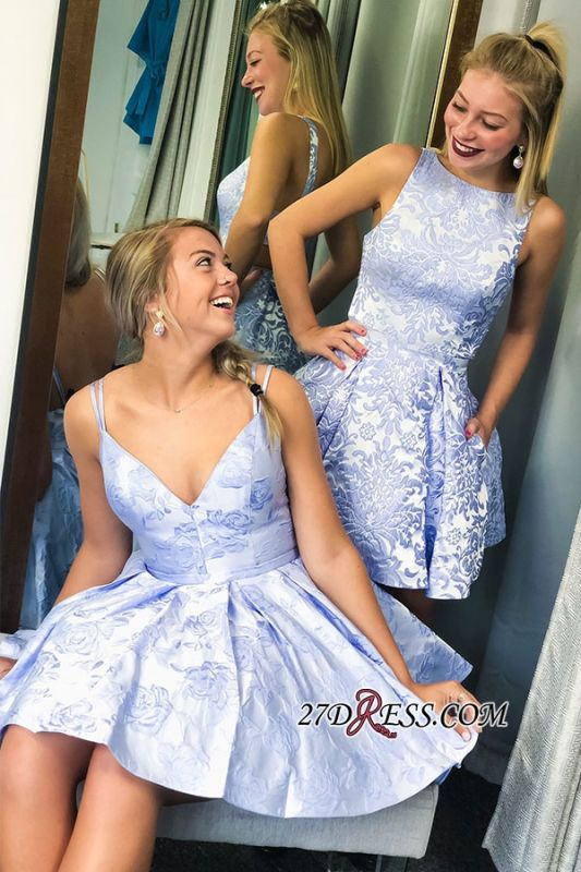 A-line Spaghetti-strap Lace V-neck Short Homecoming Dresses