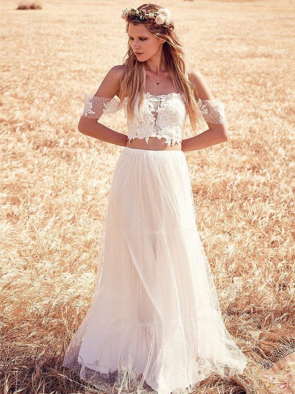 Two Pieces Boho A-Line Wedding Dresses | Off-The-Shoulder Lace Long Bridal Gowns
