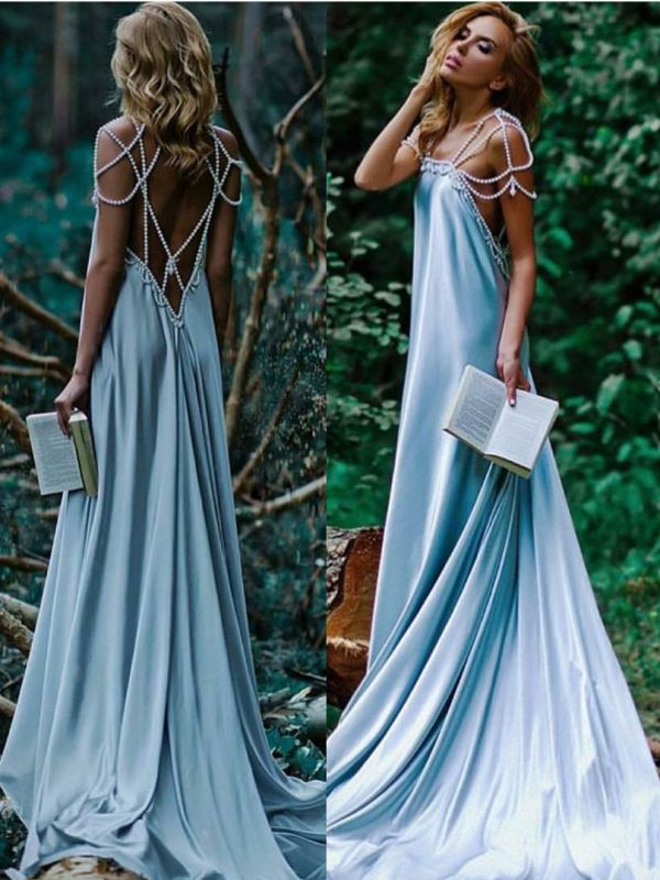 Sexy Beading A-Line Prom Dresses | Simple Spaghetti Straps Long Evening Dresses