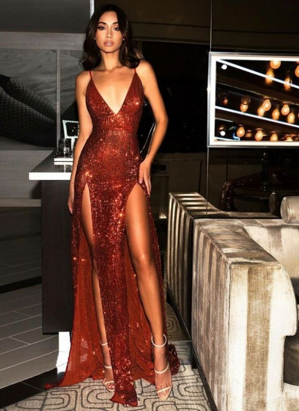 Sexy Burgundy Slits Party Dresses | Backless Sequin Long Evening Gowns