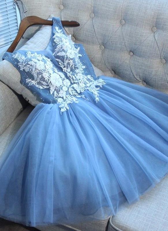 Elegant Blue Short Homecoming Dresses   V-Neck Lace-Up Cocktail Dresses