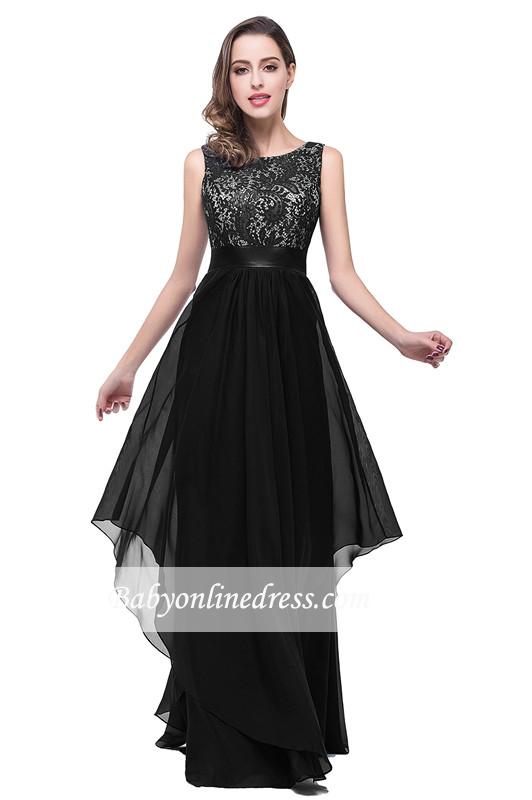 Sleeveless Appliques Lace Elegant Chiffon Long Evening Dress