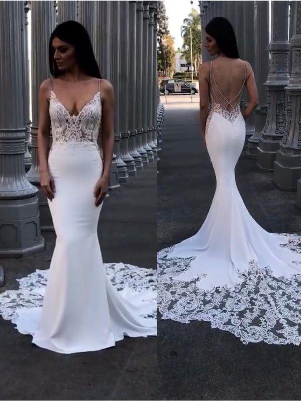 Elegant Lace Mermaid Wedding Dresses | Spaghetti Straps Backless Bridal Gowns