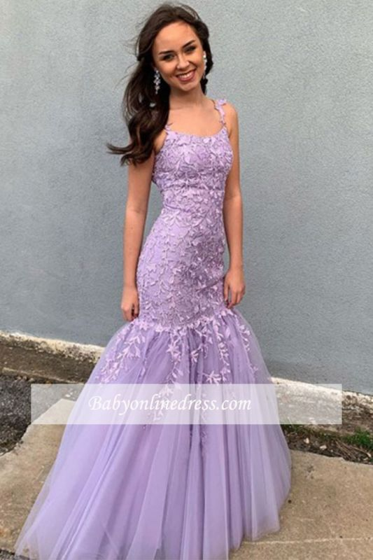 Spaghetti-strap Lace Mermaid Applique Floor-length Pueple Prom Dresses