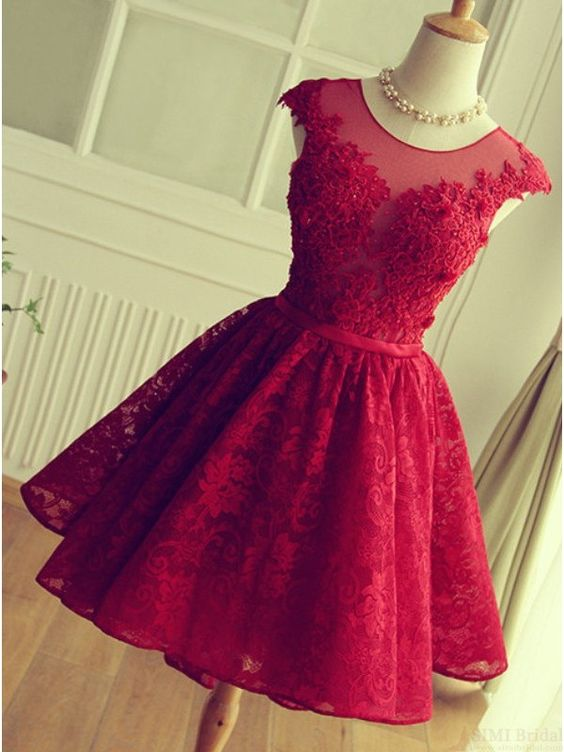 Red Short Lace Applqiues Homecoming Dress 2021 Cap Sleeves A-Line Cocktail Dresses