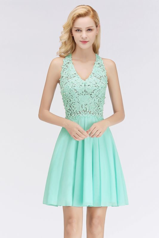 Cheap A-Line Homecoming Dresses | Sexy Lace Beading Short Chiffon Cocktail Dresses