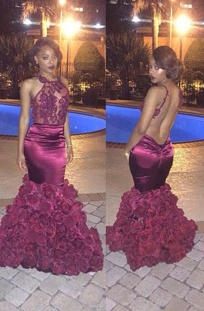Sexy Backless Mermaid Prom Dresses 2021 Appliques Sheer Neck Evening Gowns with Flowers