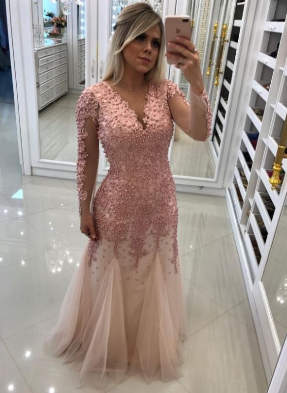Luxury Pearls Mermaid Prom Dresses | V-Neck Long Sleeves Lace Applique Tulle Evening Dress